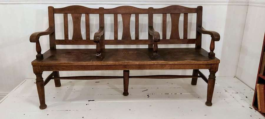 1900's oak & elm foyer bench