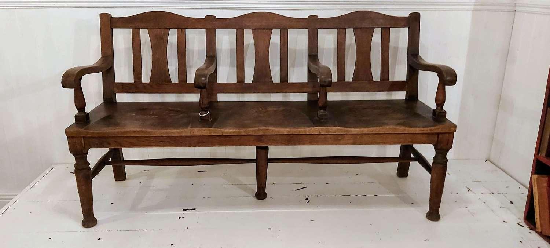 1900's oak & elm foyer bench