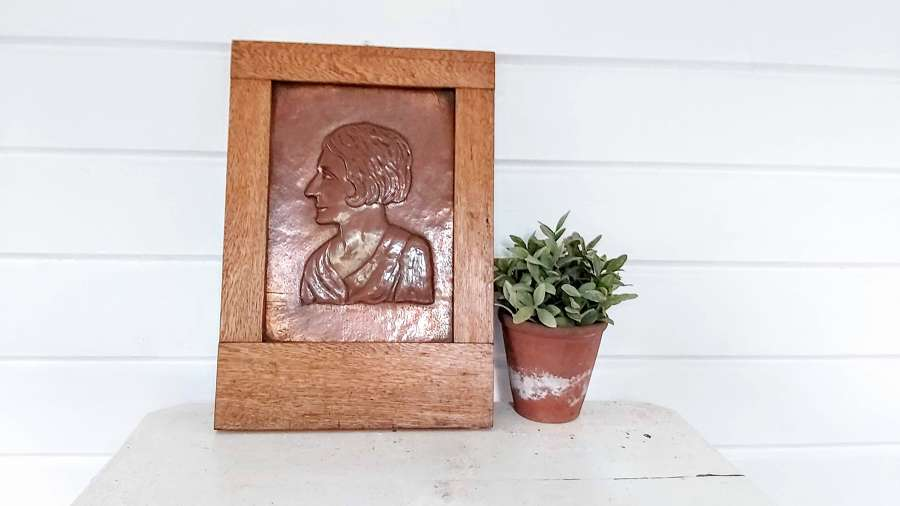 Arts&Crafts Copper Relief Portrait