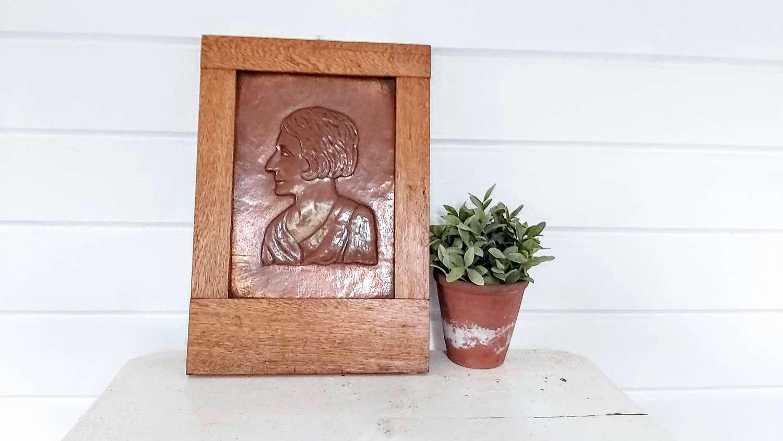 Arts&Crafts Copper Relief Portrait