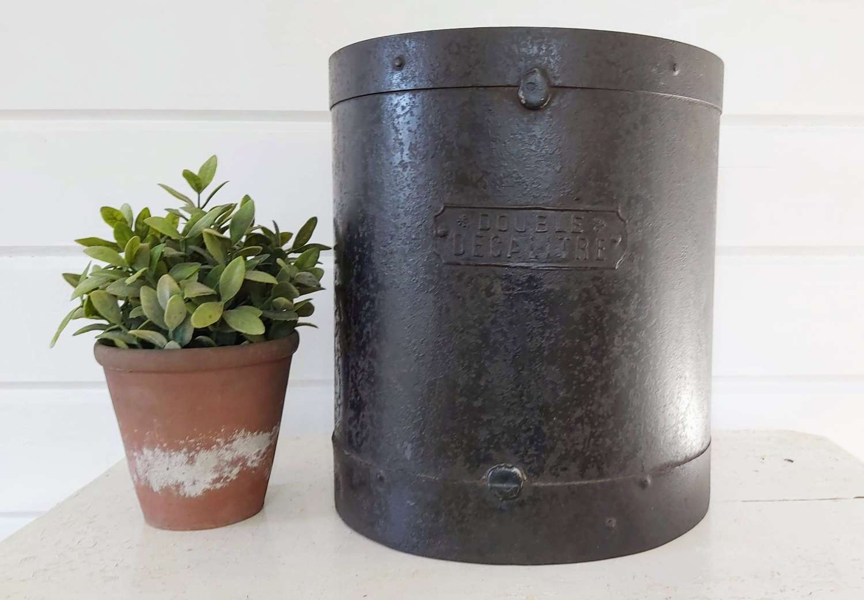 Vintage French steel grain bucket