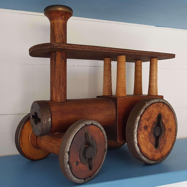 Antique Folk art traction engine toy