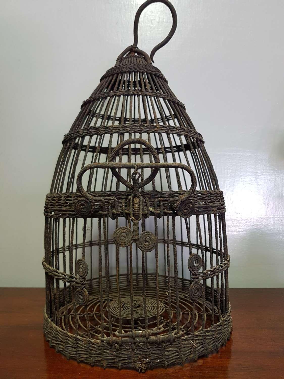 19th century french wire work bird cage