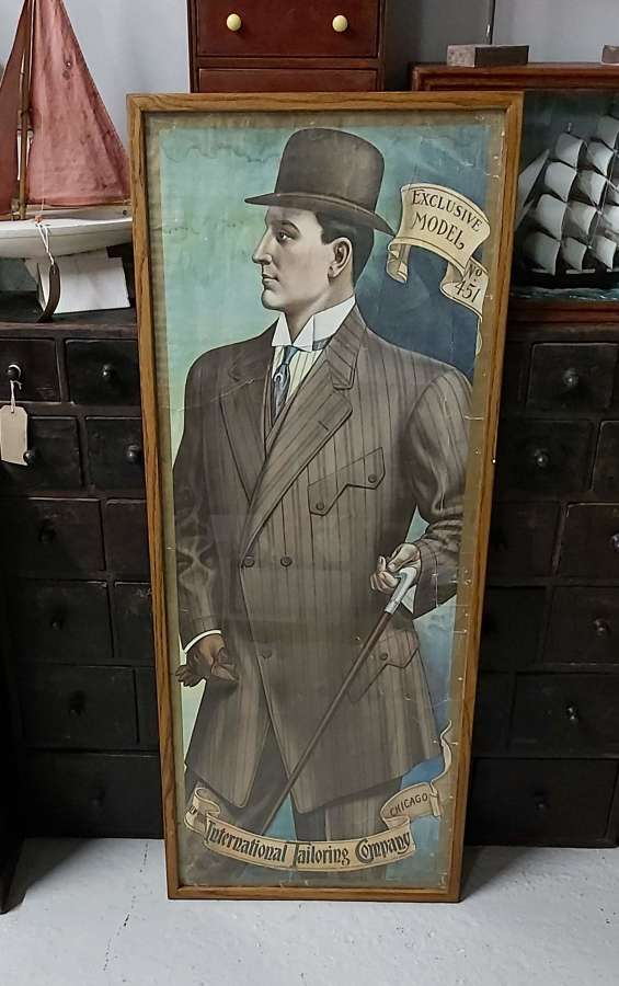 Large 1920's original framed advertising lithograph