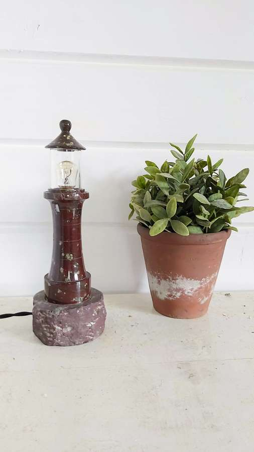 A 20th century Cornish Serpentine stone Lighthouse lamp