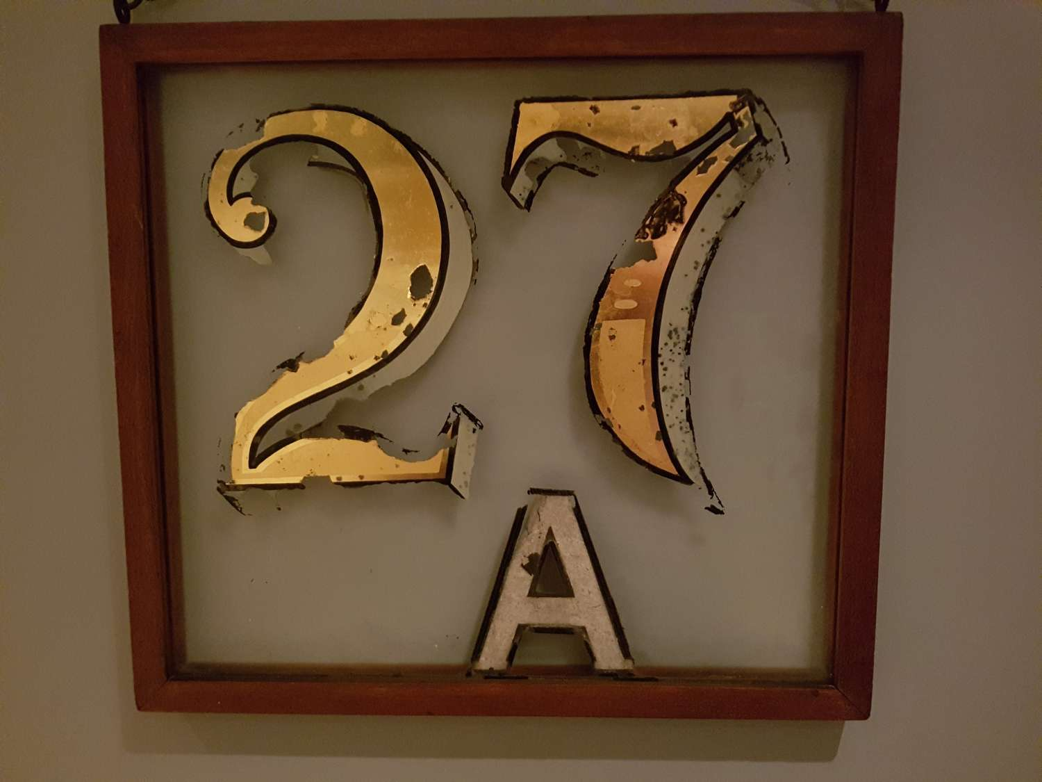 Framed distressed 27a house number