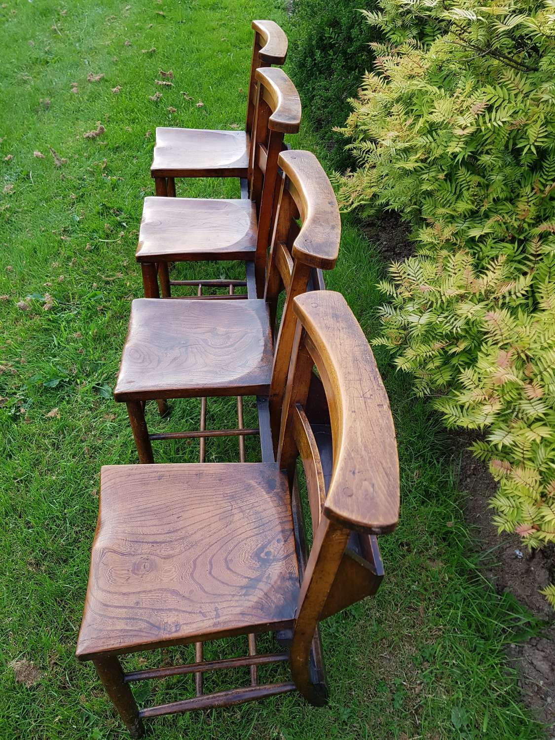 Row of four Welsh chapel chairs