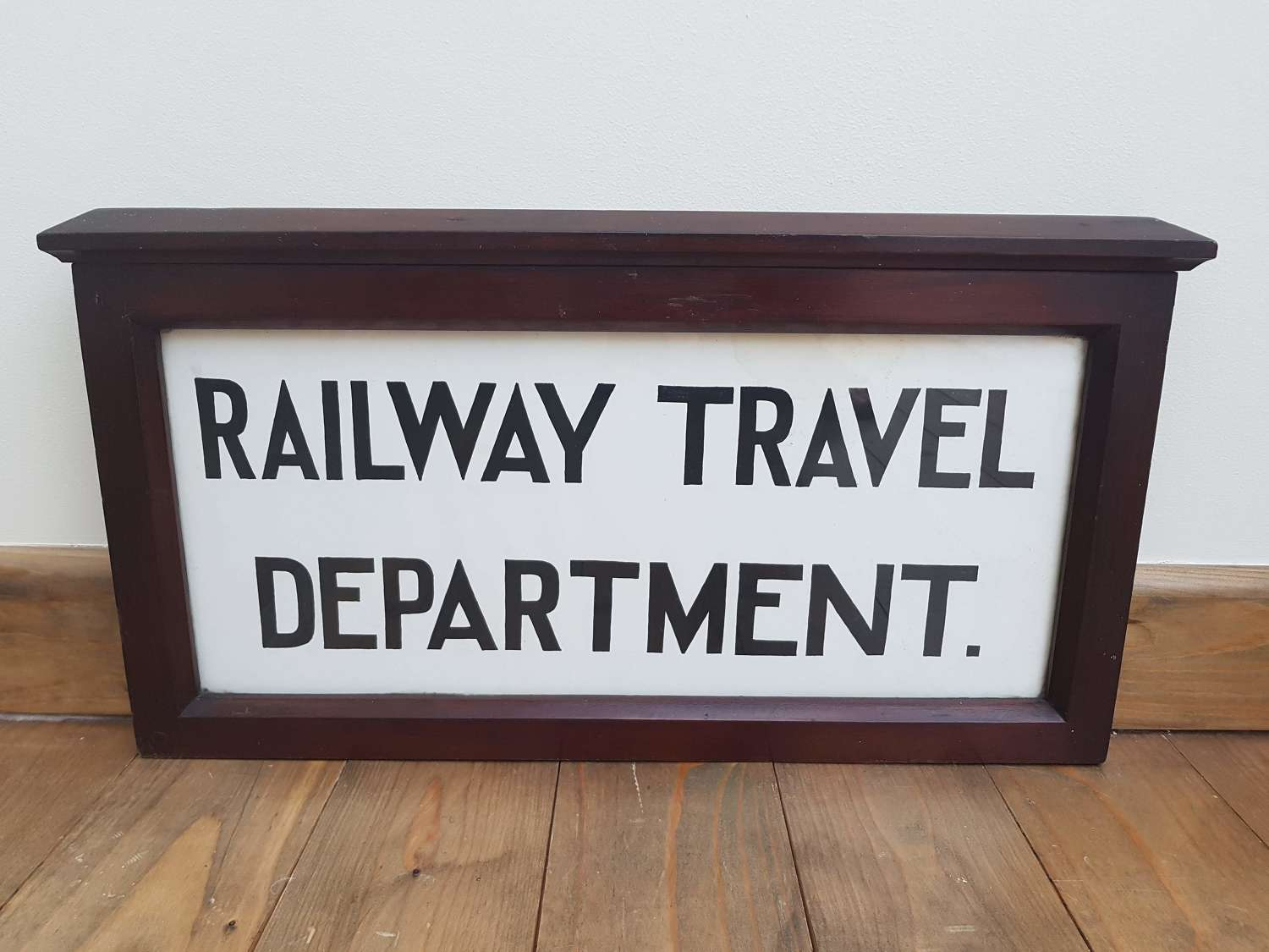 Vintage double sided mahogany framed railway sign