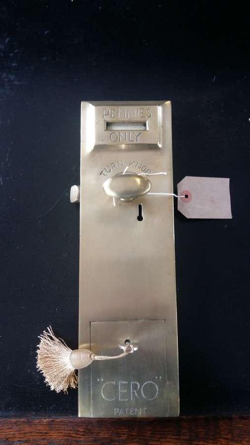 C1930's Cero brass spend a penny door lock