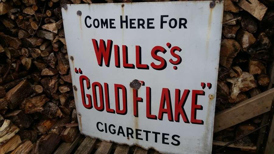 Large vintage Wills Gold Flake enamel sign