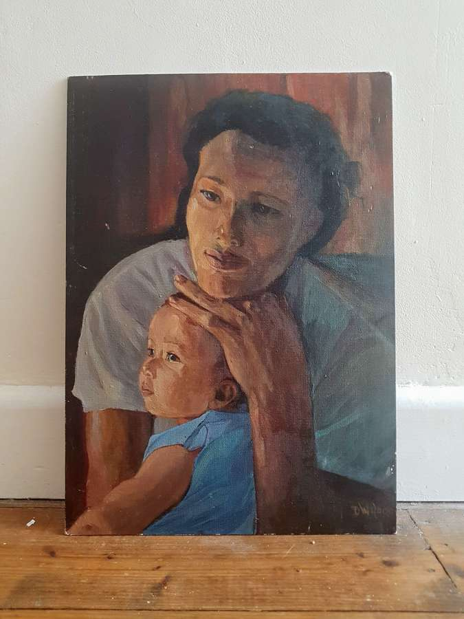 Oil on board study of a Mother and Child