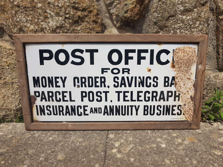 Old Enamel post office sign