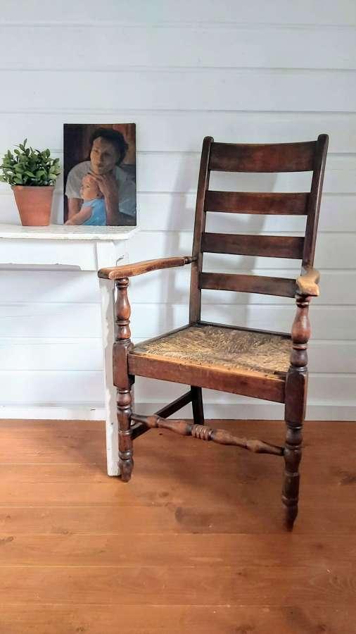 Late 19th century ladder back armchair