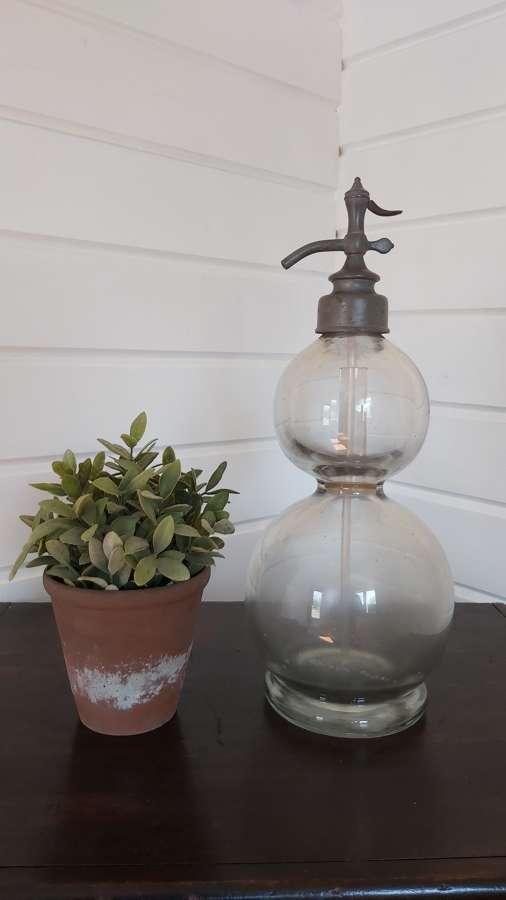 Antique French double ball soda syphon