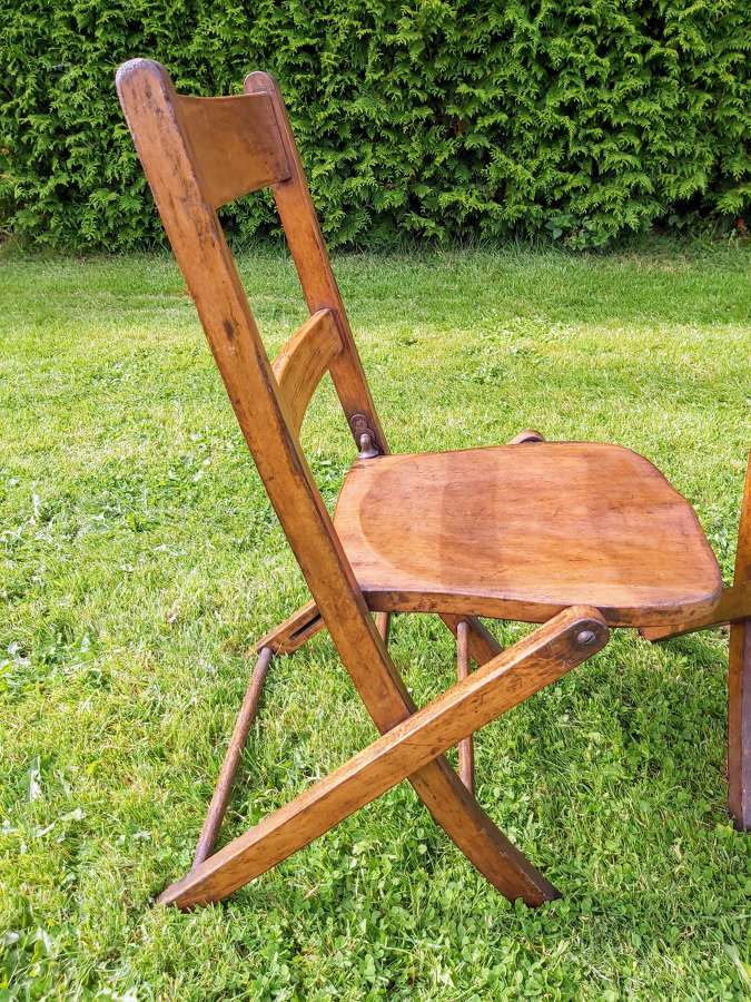 Vintage beech wood folding chairs
