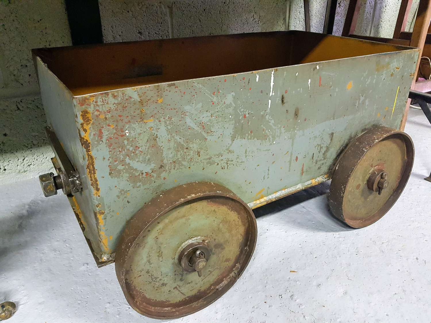 Vintage Industrial box cart on wheels