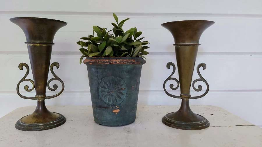 C1900 patinated Antique brass vases