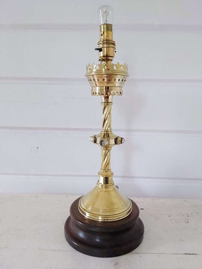 19th century gilt brass candlestick lamp