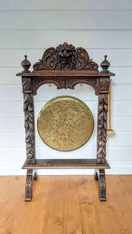 Large 19th century Oak framed dinner gong