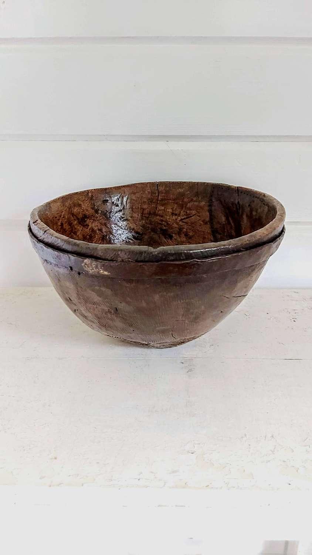 Antique primitive wooden bowl