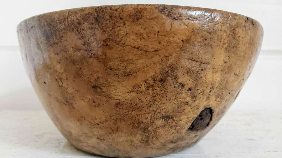 Antique rustic sycamore bowl