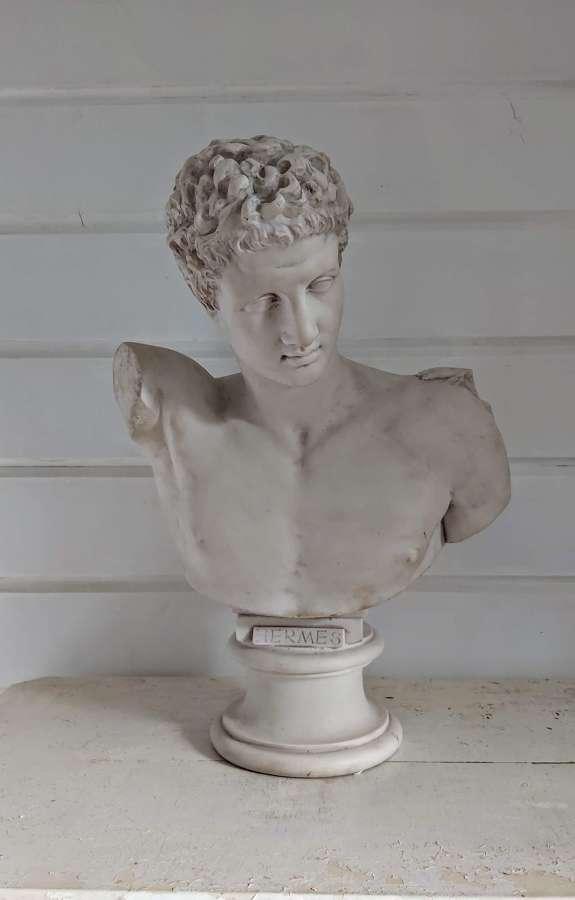 Parian bust of Greek God Hermes