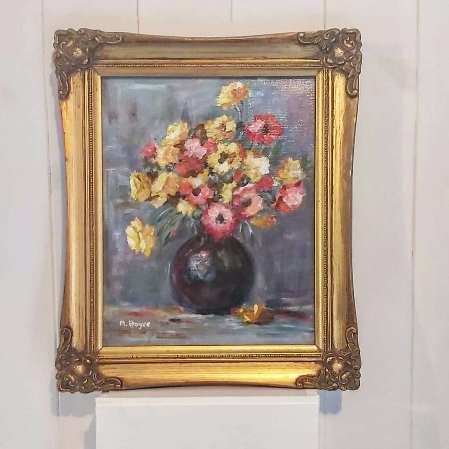 Oil on board still life study of flowers in a vase