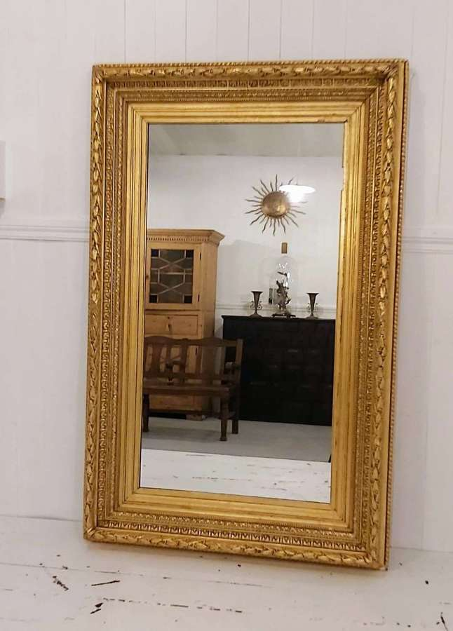 19th century rectangular gilt and gesso mirror