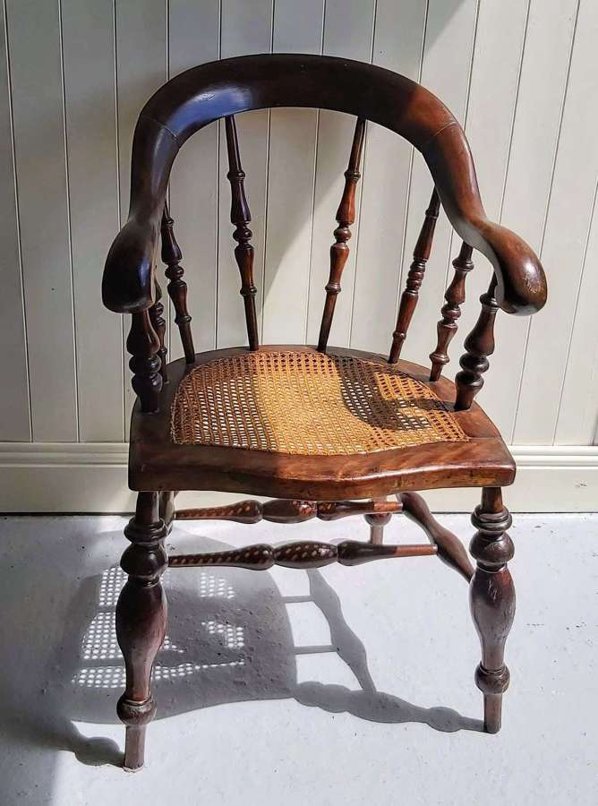 19th century high back smokers bow chair