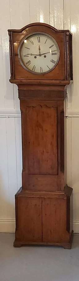 Mid 19th century pine longcase clock