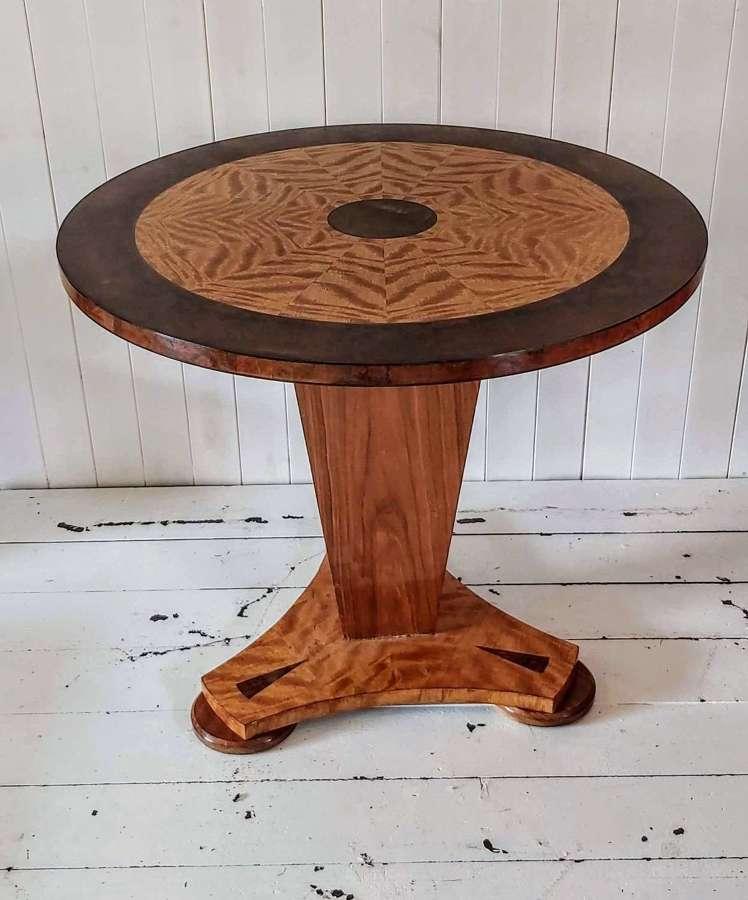Art Deco Satinwood and Burr walnut pedestal table