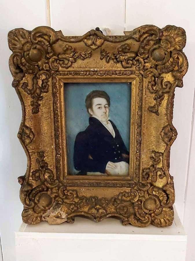 Regency period gilt framed portrait on ivory