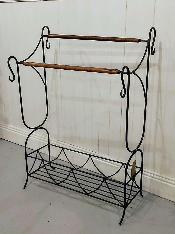 Vintage French wrought iron  towel rail