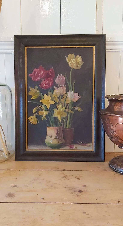 1930s still life study of flowers