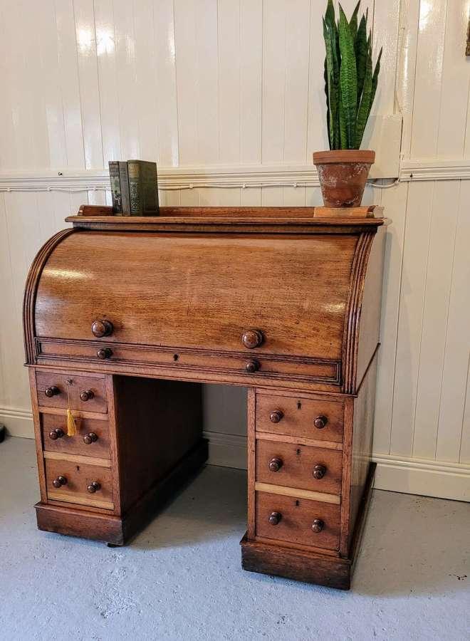 19th century oak Cylinder desk